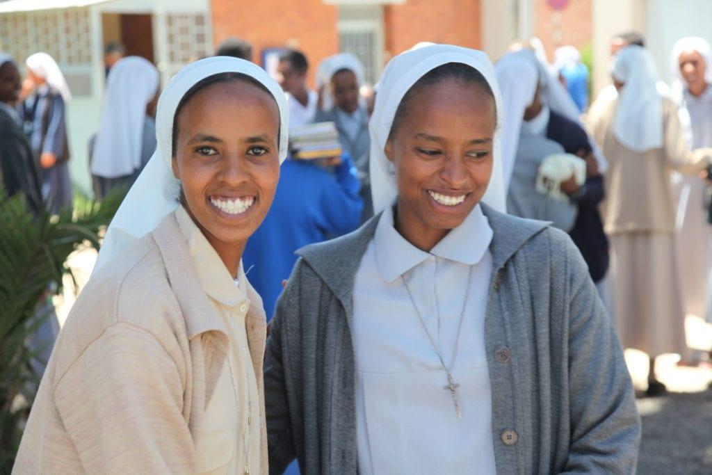 two Eritrean Catholic novices smile.