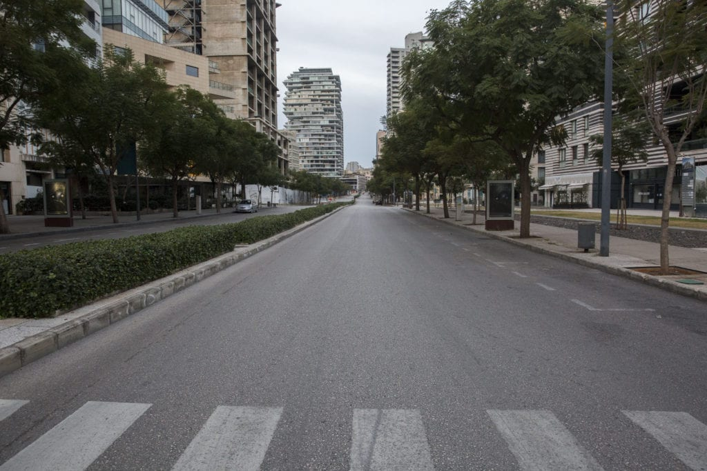 empty streets in Beirut during COVID-19 lockdown