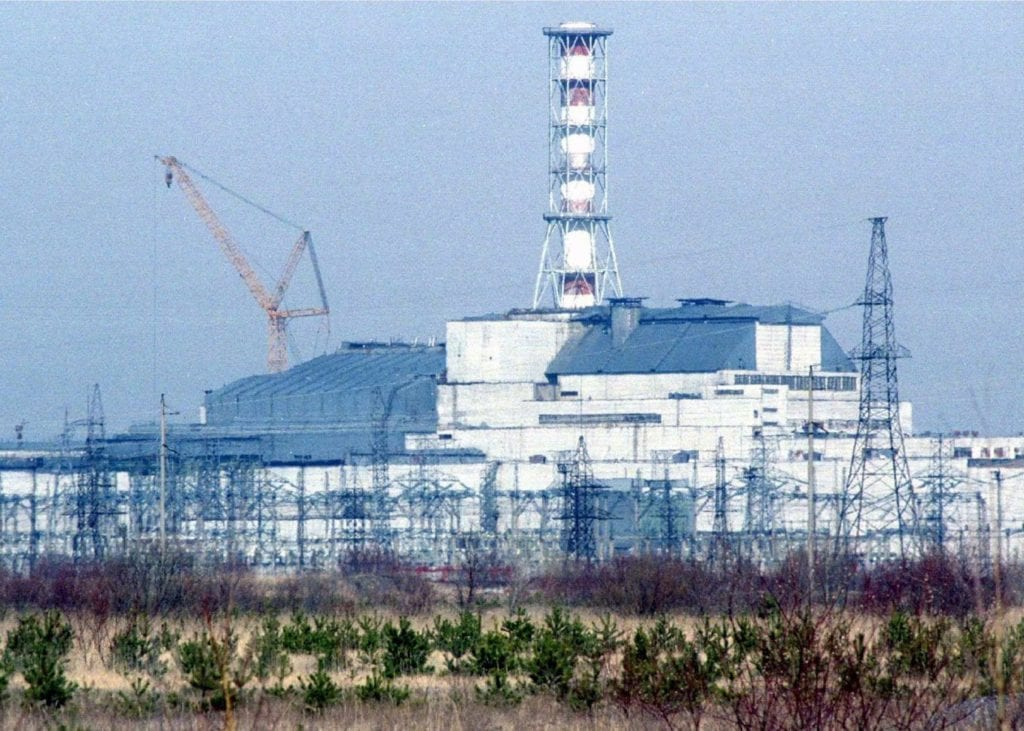Chernobyl's fourth reactor, encased in protective concrete, was involved in the world's worst nuclear accident in 1986.